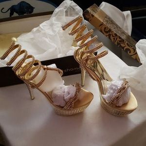 Shamdon Exclusive Gold blinged out 6in heels
